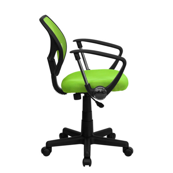 Lowest Price Low Back Green Mesh Swivel Task Office Chair with Arms