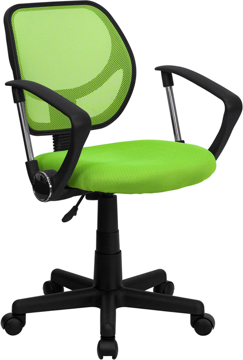 Wholesale Low Back Green Mesh Swivel Task Office Chair with Arms