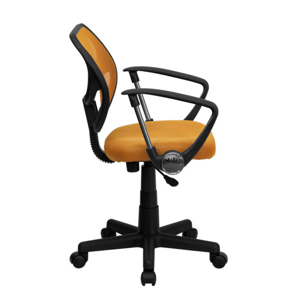 Lowest Price Low Back Orange Mesh Swivel Task Office Chair with Arms