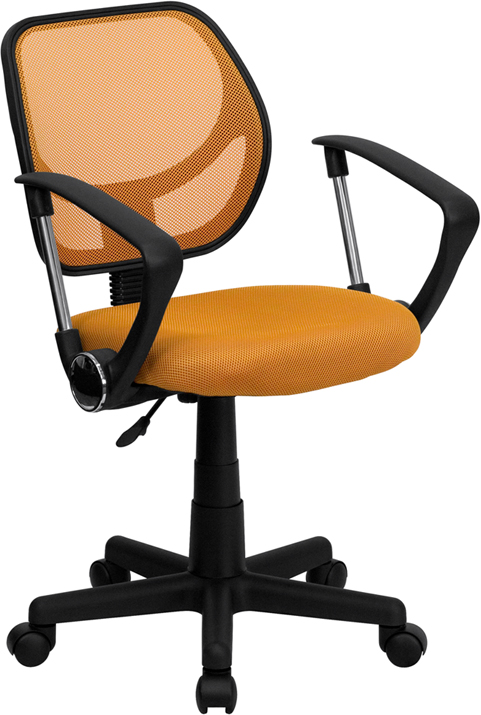 Wholesale Low Back Orange Mesh Swivel Task Office Chair with Arms