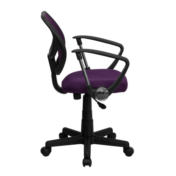 Lowest Price Low Back Purple Mesh Swivel Task Office Chair with Arms