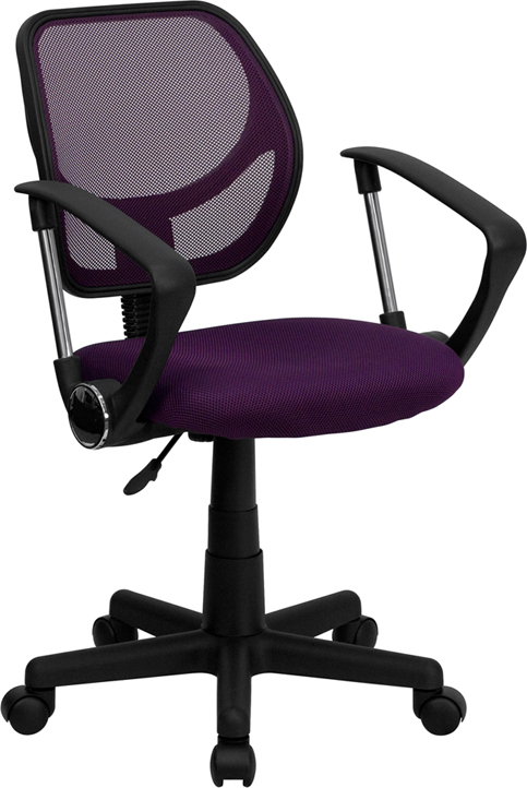 Wholesale Low Back Purple Mesh Swivel Task Office Chair with Arms