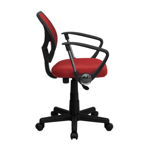 Lowest Price Low Back Red Mesh Swivel Task Office Chair with Arms
