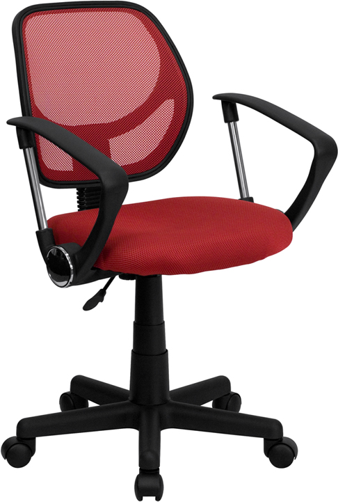 Wholesale Low Back Red Mesh Swivel Task Office Chair with Arms