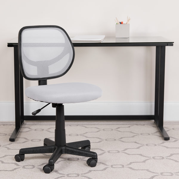 Lowest Price Low Back White Mesh Swivel Task Office Chair