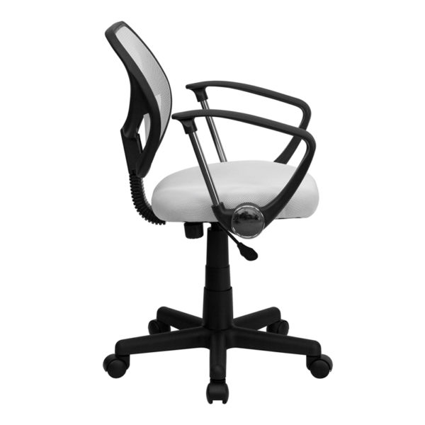 Lowest Price Low Back White Mesh Swivel Task Office Chair with Arms