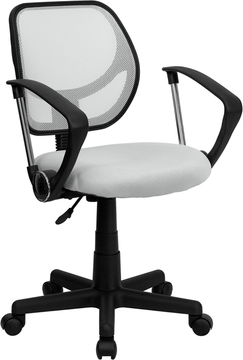 Wholesale Low Back White Mesh Swivel Task Office Chair with Arms