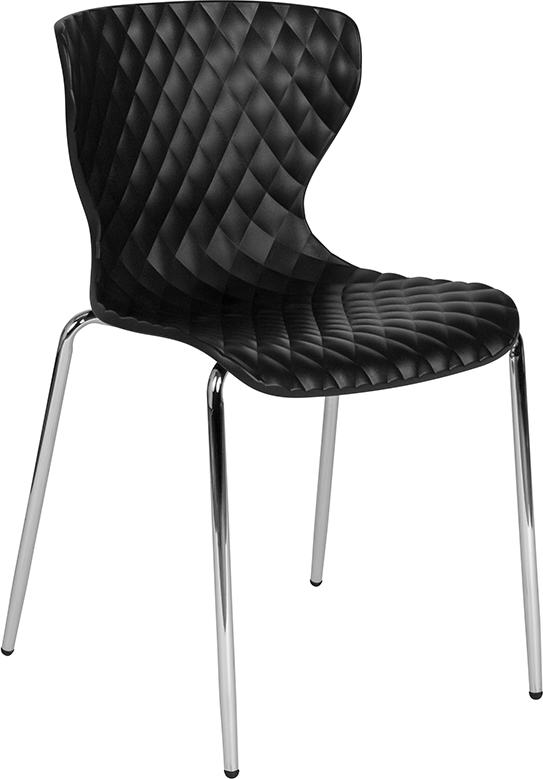 Wholesale Lowell Contemporary Design Black Plastic Stack Chair