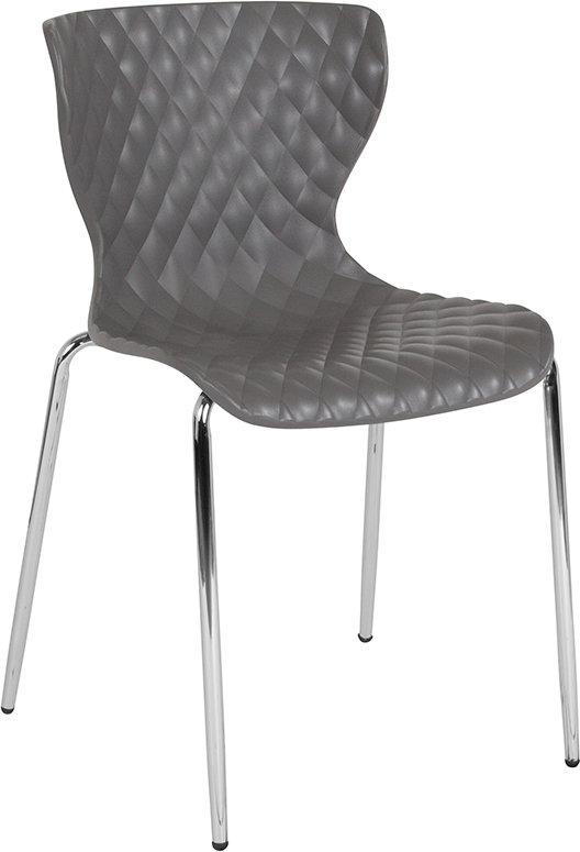 Wholesale Lowell Contemporary Design Gray Plastic Stack Chair