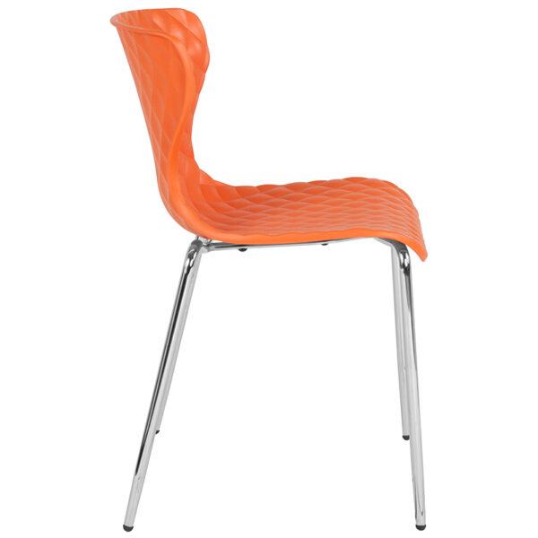 Lowest Price Lowell Contemporary Design Orange Plastic Stack Chair