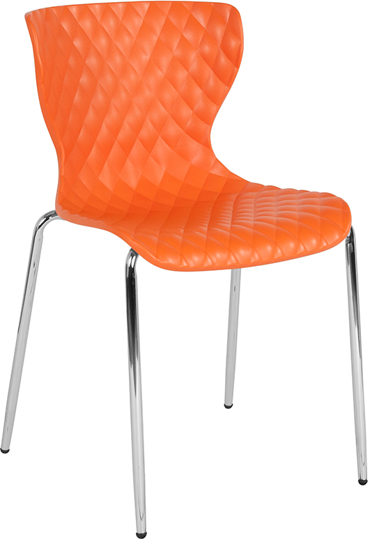 Wholesale Lowell Contemporary Design Orange Plastic Stack Chair