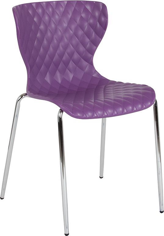Wholesale Lowell Contemporary Design Purple Plastic Stack Chair