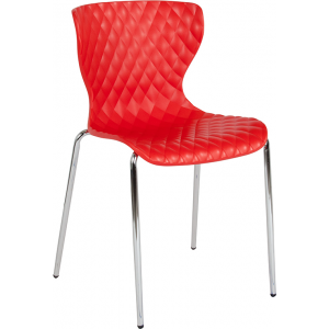 Wholesale Lowell Contemporary Design Red Plastic Stack Chair