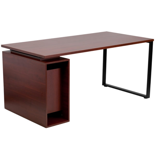 Lowest Price Mahogany Computer Desk with Open Storage Pedestal