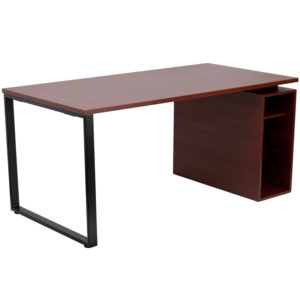 Wholesale Mahogany Computer Desk with Open Storage Pedestal