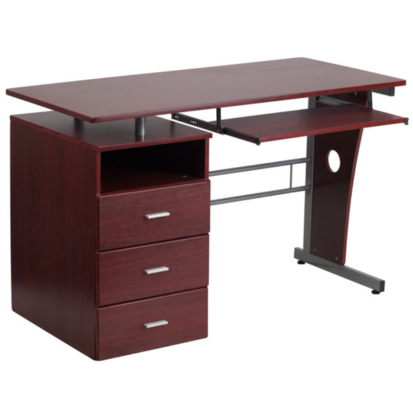 Lowest Price Mahogany Desk with Three Drawer Pedestal and Pull-Out Keyboard Tray