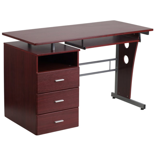 Wholesale Mahogany Desk with Three Drawer Pedestal and Pull-Out Keyboard Tray