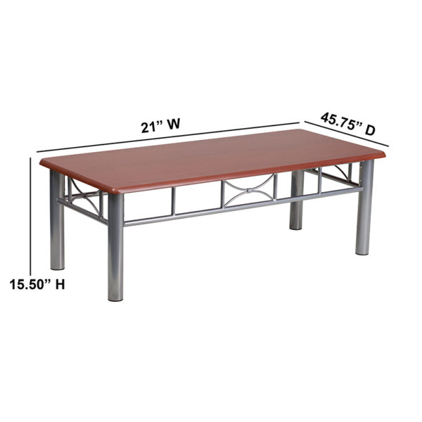 Lowest Price Mahogany Laminate Coffee Table with Silver Steel Frame