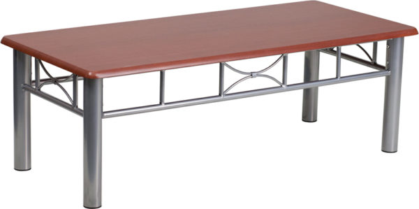 Wholesale Mahogany Laminate Coffee Table with Silver Steel Frame