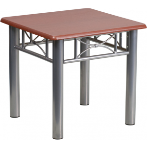 Wholesale Mahogany Laminate End Table with Silver Steel Frame