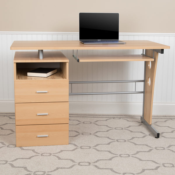 Lowest Price Maple Desk with Three Drawer Pedestal and Pull-Out Keyboard Tray