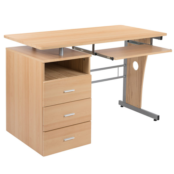 Contemporary Style Maple 3 Drawer Pedestal Desk