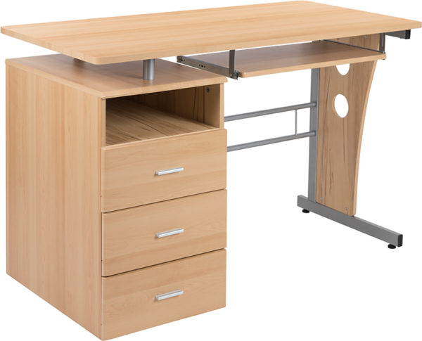 Wholesale Maple Desk with Three Drawer Pedestal and Pull-Out Keyboard Tray