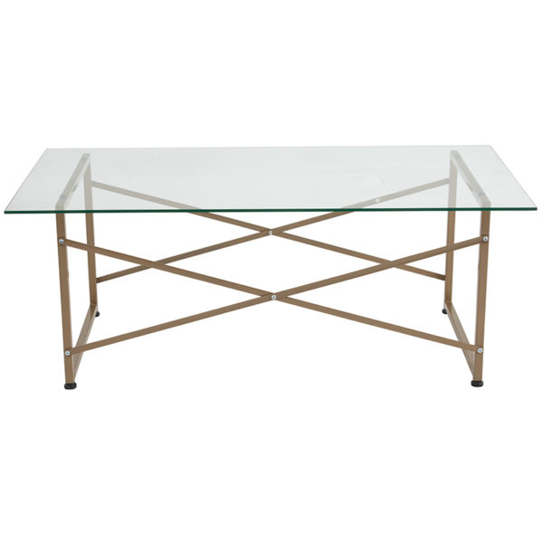 Lowest Price Mar Vista Collection Glass Coffee Table with Matte Gold Frame