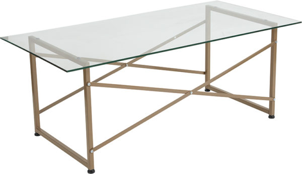 Wholesale Mar Vista Collection Glass Coffee Table with Matte Gold Frame