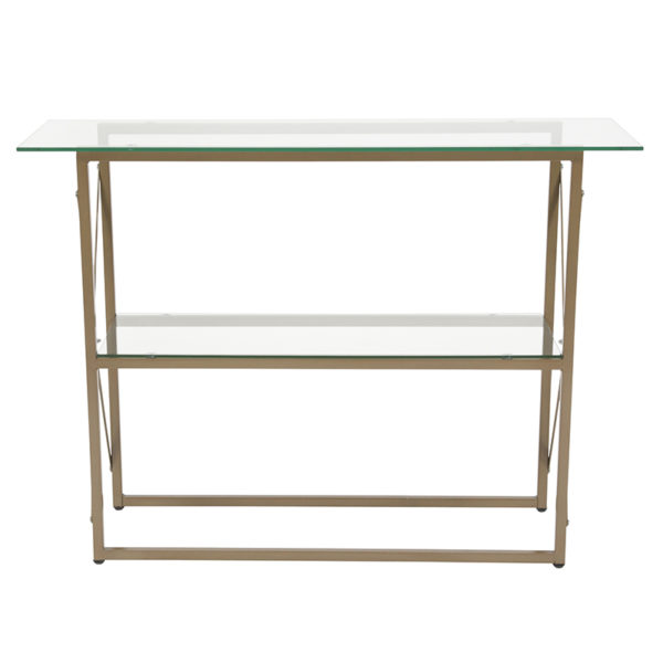 Lowest Price Mar Vista Collection Glass Console Table with Matte Gold Frame
