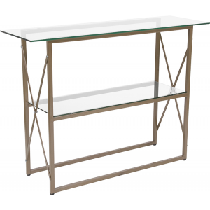 Wholesale Mar Vista Collection Glass Console Table with Matte Gold Frame