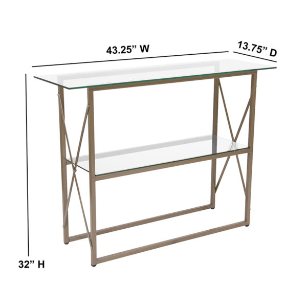 Contemporary Style Glass Console Table
