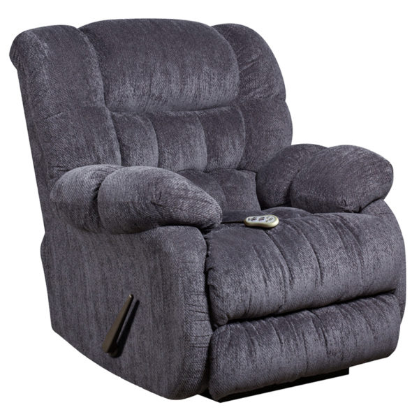Wholesale Massaging Columbia Indigo Blue Microfiber Rocker Recliner with Heat Control