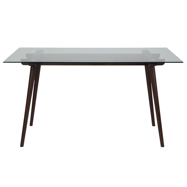 """Lowest Price Meriden 31.5"""" x 55"""" Rectangular Solid Espresso Wood Table with Clear Glass Top"""