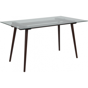 "Wholesale Meriden 31.5"" x 55"" Rectangular Solid Espresso Wood Table with Clear Glass Top"