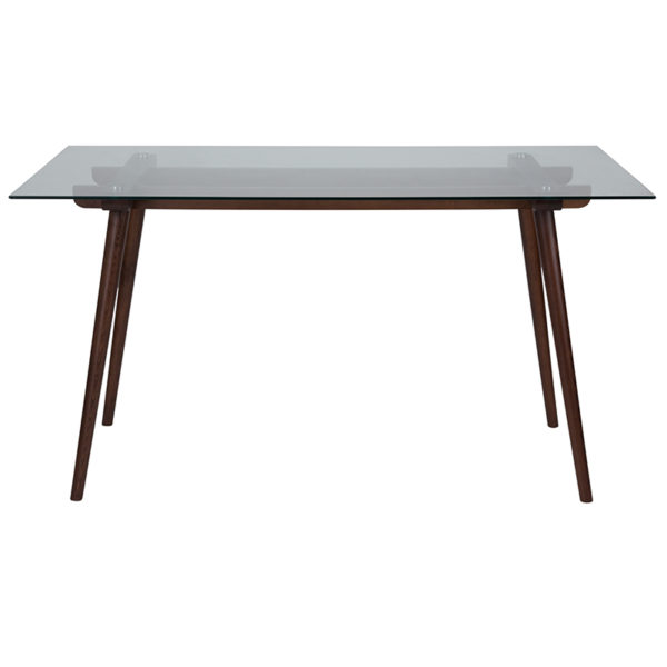 """Lowest Price Meriden 31.5"""" x 55"""" Rectangular Solid Walnut Wood Table with Clear Glass Top"""