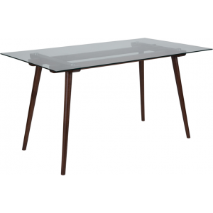 "Wholesale Meriden 31.5"" x 55"" Rectangular Solid Walnut Wood Table with Clear Glass Top"
