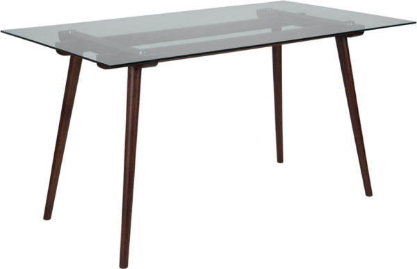 """Wholesale Meriden 31.5"""" x 55"""" Rectangular Solid Walnut Wood Table with Clear Glass Top"""