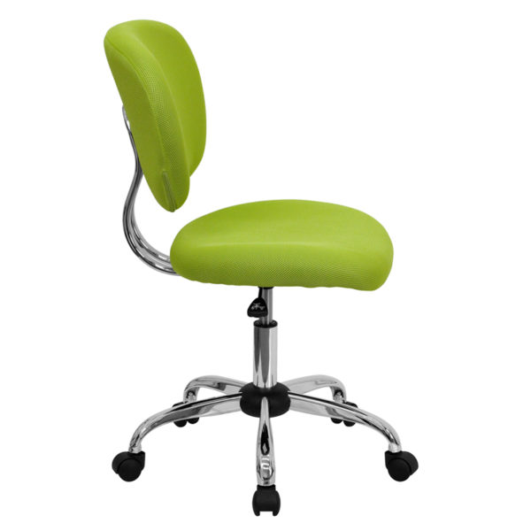 Lowest Price Mid-Back Apple Green Mesh Padded Swivel Task Office Chair with Chrome Base