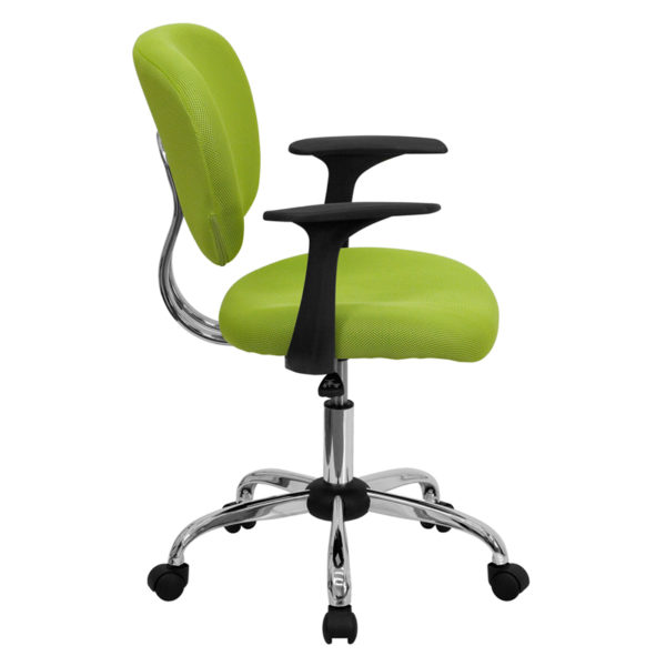 Lowest Price Mid-Back Apple Green Mesh Padded Swivel Task Office Chair with Chrome Base and Arms