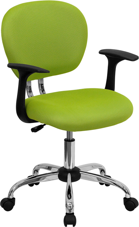 Wholesale Mid-Back Apple Green Mesh Padded Swivel Task Office Chair with Chrome Base and Arms