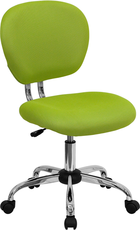 Wholesale Mid-Back Apple Green Mesh Padded Swivel Task Office Chair with Chrome Base