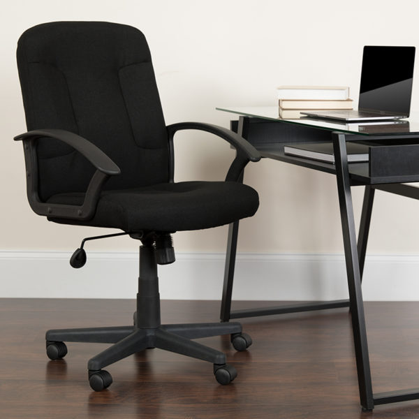 Lowest Price Mid-Back Black Fabric Executive Swivel Office Chair with Nylon Arms