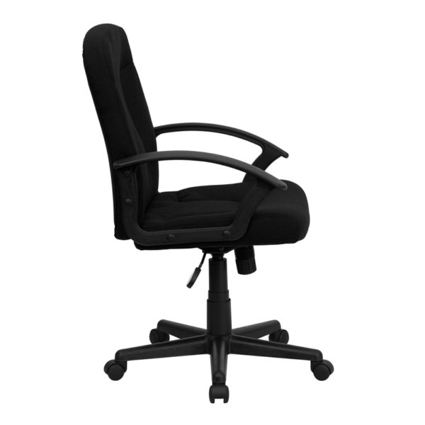 Contemporary Office Chair Black Mid-Back Fabric Chair