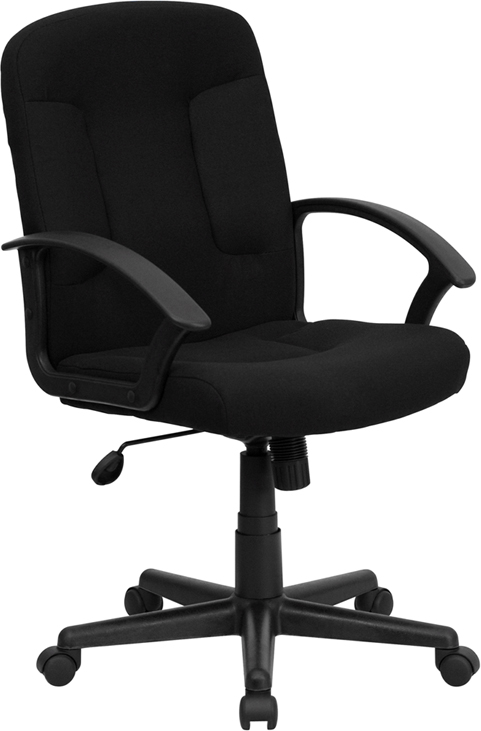 Wholesale Mid-Back Black Fabric Executive Swivel Office Chair with Nylon Arms