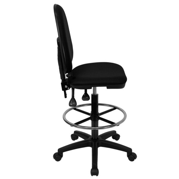 Lowest Price Mid-Back Black Fabric Multifunction Ergonomic Drafting Chair with Adjustable Lumbar Support