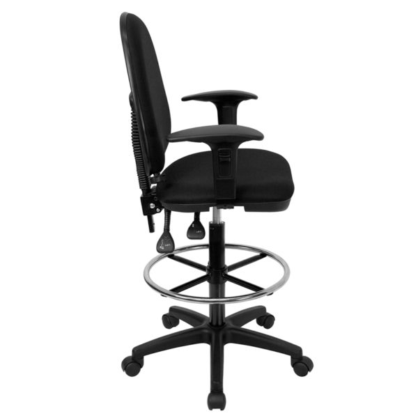 Lowest Price Mid-Back Black Fabric Multifunction Ergonomic Drafting Chair with Adjustable Lumbar Support and Adjustable Arms