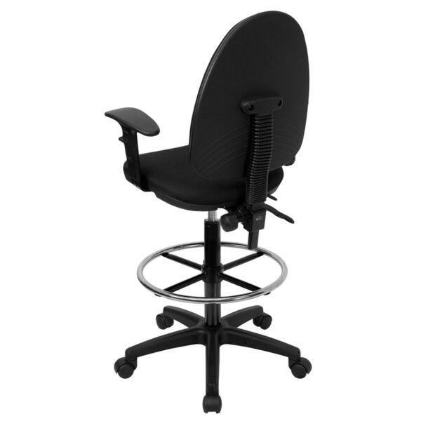 Contemporary Draft Stool Black Fabric Draft Chair w/Arm