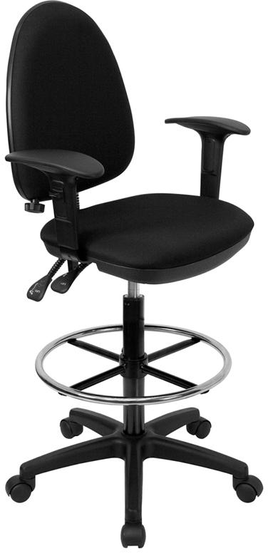 Wholesale Mid-Back Black Fabric Multifunction Ergonomic Drafting Chair with Adjustable Lumbar Support and Adjustable Arms
