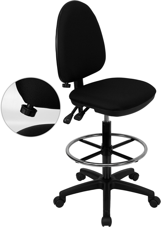 Wholesale Mid-Back Black Fabric Multifunction Ergonomic Drafting Chair with Adjustable Lumbar Support